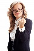 businesswoman showing fist