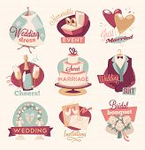 stock photo of fiance  - Retro wedding emblems - JPG