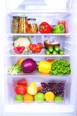 foto of refrigerator  - Refrigerator full of food - JPG