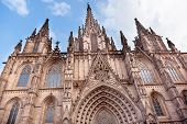 Gothic Catholic Cathedral Facade Steeples Barcelona Catalonia Spain