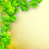 Irish shamrock leaves background for Happy St. Patrick's Day. EPS 10.