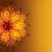 Golden Background With Decorative Flower