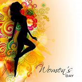 Silhouette of a girl on colorful floral decorated background for Happy Women's Day.