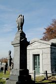 Mausoleum and tombstones at the  Washington Jewish cemetery in Brooklyn, New York