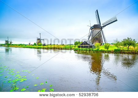 Windmills And Canal In Kinderdijk