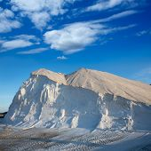 Ibiza ses Salines saltworks white salt mountain in Sant Josep