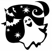 foto of wraith  - Halloween ghost silhouette with moon and bats - JPG