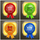 Set Of Color Award Labels On Black