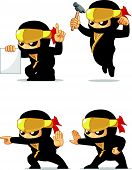 pic of ninja  - A vector set of ninja in several poses - JPG