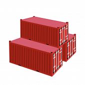 Three Red Cargo Container On White Background