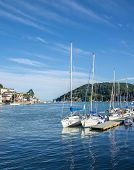 image of dartmouth  - Yachts Moored on the Dart Estuary at Dartmouth England - JPG