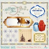 Christmas and New Year's Inscriptions, items and backgrounds
