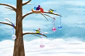 picture of chickadee  - Chickadees celebrate Christmas on the tree - JPG