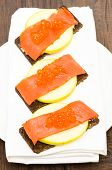 Canapes With Salmon, Caviar And Apple
