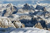 Winter landscape in Sella Group, Dolomites, Italy