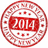 Happy New Year 2014 Red Vector Grunge Stamp