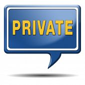 private and personal information icon, banner for privacy protection of restricted info