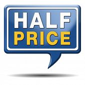 half price sale sign icon label or button 50% sales reduction