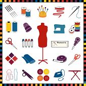Sewing And Tailoring Icons, Multicolor