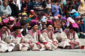 Tibetan Musicians Clothes Playing Folk Music