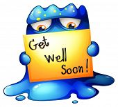 stock photo of get well soon  - Illustration of a blue monster holding a get - JPG