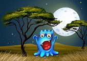 Illustration of a monster near the tree under the bright fullmoon