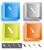 Education icon set. Felt pen, brush, pencil, ink pen. Computer keys. Vector illustration.