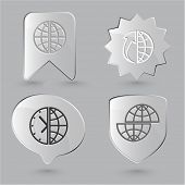 Business icon set. Globe, globe and array up, shift globe, globe and clock. Glass buttons.