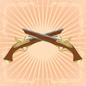 picture of divergent  - Two old pistol on abstract diverging rays - JPG