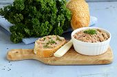 homemade meat snack chicken liver pate with parsley