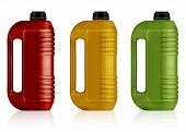 pic of yellow milk cap  - Red yellow green plastic gallon jerry can isolated on a white background - JPG