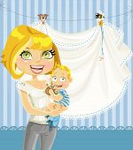 mom with baby boy blue openwork announcement card