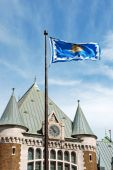 image of gare  - Detail of Gare du Palais the railway and bus station of Quebec City and its flag - JPG