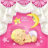 Pink baby shower card with sweet sleeping newborn baby