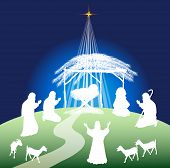 foto of christmas song  - Christmas nativity scene silhouette and shepherds  - JPG