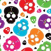 Seamless colorful mexican skull decoration background pattern in vector