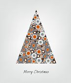 Christmas card. Stylized Christmas tree. Circle patern. Vector backgroun Illustration.