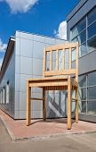 Borovichi, Russia - July 20: Giant Chair Near The Factory Borovichy-furniture On July 20, 2011 In Bo