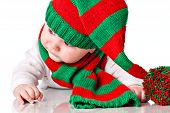 Baby With Christmas Hat And Scarf