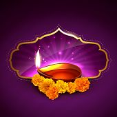 stock photo of diwali  - beautiful stylish diwali festival illustration - JPG