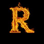 Fire alphabet letter R isolated on black background.
