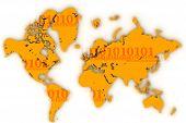 World Map Flat Digits7