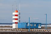 Lighthouse In Pirita Yacht Harbor At Winter. Tallinn, Estonia