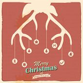 illustration of Christmas Reindeer in retro holiday background