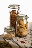 Chocolate And Lavender Cookies And Crushed Hazelnuts In A Jar