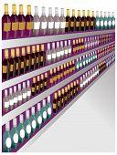 Closeup Shot Of Wine Shelf Bottles.