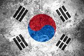 image of korean  - flag of South Korea or South Korean banner on vintage metal texture - JPG