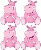 Set Of Pink Hippopotamus - First Teeth