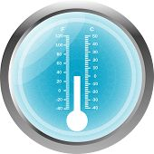 Thermometer Icon Button Isolated On White