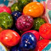 Background Of Colorful Marbled Easter Eggs